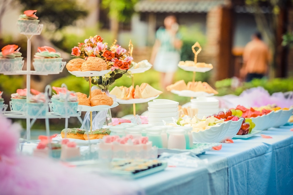 wedding decor hack, colorful food and dessert table decorations