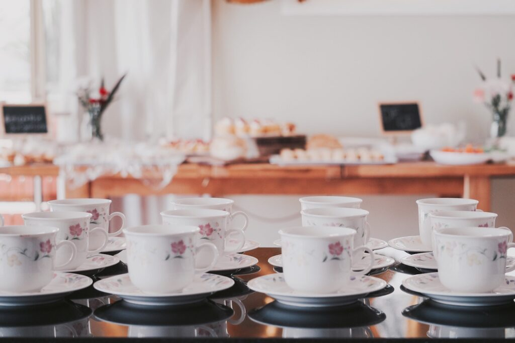 teacups on table at a party
