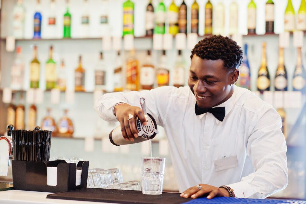Bartender at wedding bar